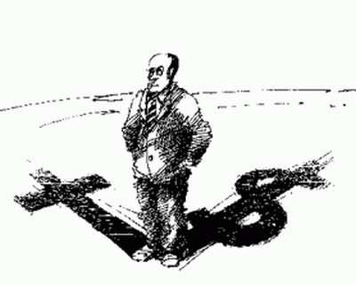 Vemos el dibujo de una pintura de un hombre con la mano en los bolsillos y  en suelo pintados una cruz y un signo de pesos