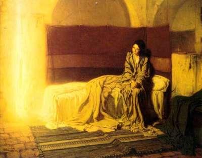 Vemos a una mujer joven sentada en una cama  donde entra mucha luz por una ventana