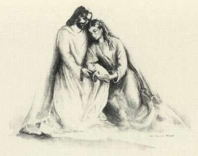 Vemos un dibujo de una mujer y un hombre sentados ella esta recostada en su hombro