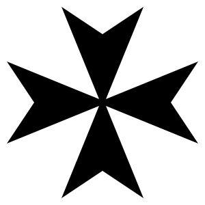 Vemos auna cruz de ocho puntas  y con cuatro Ves con los vértices invertidos