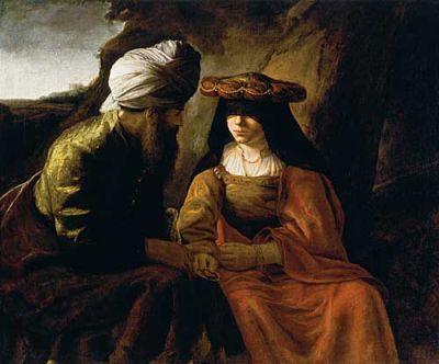 Vemos un hombre mayor que habla con una mujer joven muy ataviada y con un sombrero