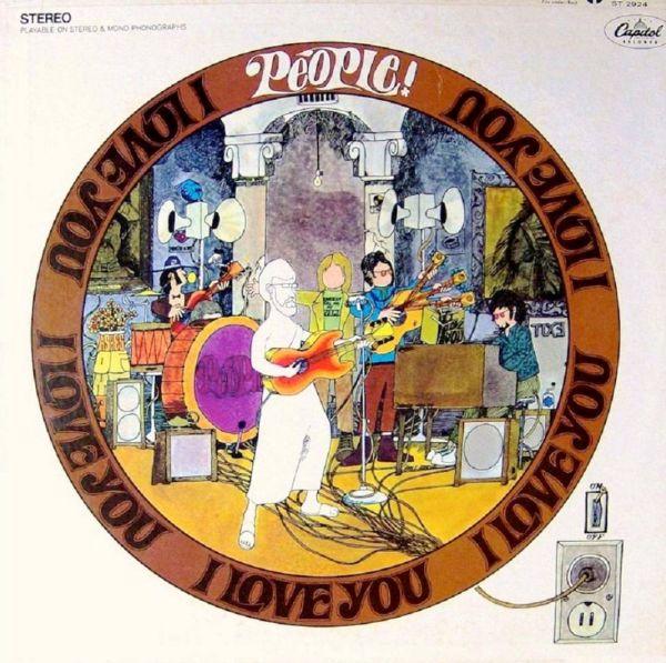 Dibujo animado de una orquesta tocando instrumentos y en círculo se ve escrito muchas veces te amo