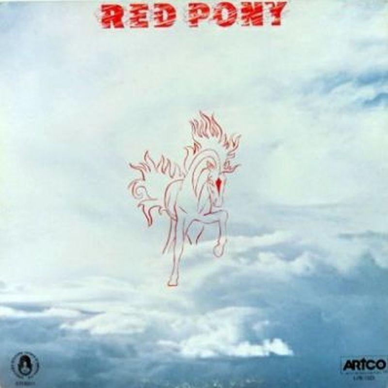 un caballo muy peludo hecho con lineas rojas en medio del cielo