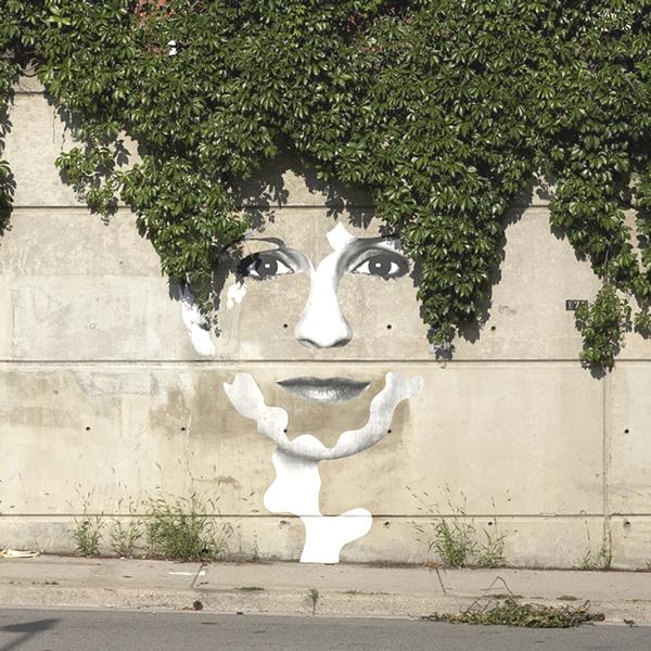 Vemos un rostro de mujer pintado en una pared de la parte alta de la pared baja un ramo de hojas que se ve como pelo
