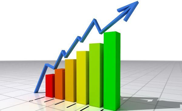 Un grafico con una flecha apuntando hacia arriba positivamente