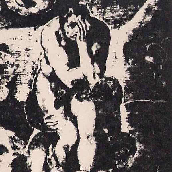 La figura de un hombre en blanco y negro donde otra persona le coloca una mano en la cara