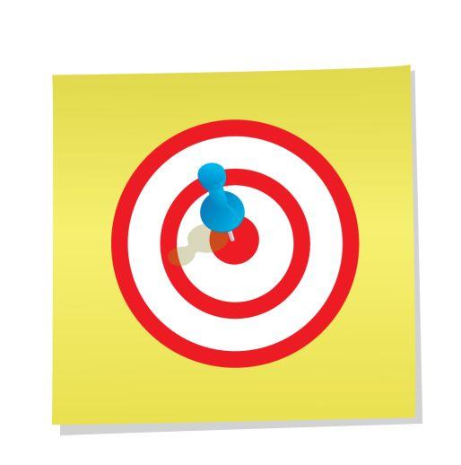 Tenemos un cuadro amarillo y dentro hay dos círculos rojos y un punto grande en el centro con un alfiler de color verde