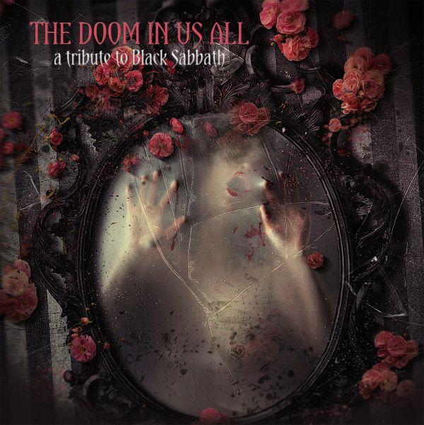 Una mujer tratando de salir de un espejo se ven varios ramos de rosas rojas