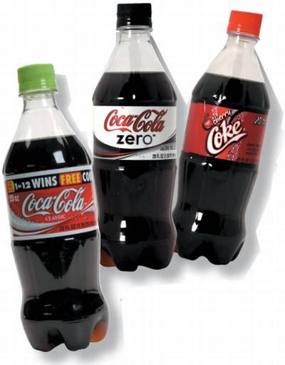Observamos tres envases diferentes de la misma gaseosa