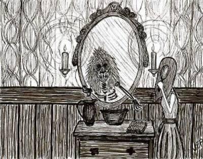 Vemos un dibujo de un espejo donde hay un feo dibujo como de un ser diabólico y al lado otra figura de una mujer con un casco en la cara