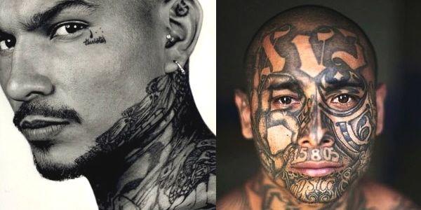 Vemos dos rostros de hombres tatuados con diferentes dibujos en muchos colores