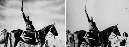 Vemos aun hombre con uniforme militar sobre un caballo  blandiendo una espada y en la otra foto la misma se ve a un hombre que ayuda en algo