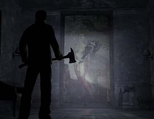 Tenemos aun hombre que lleva un hacha en la mano se acerca a una ventana