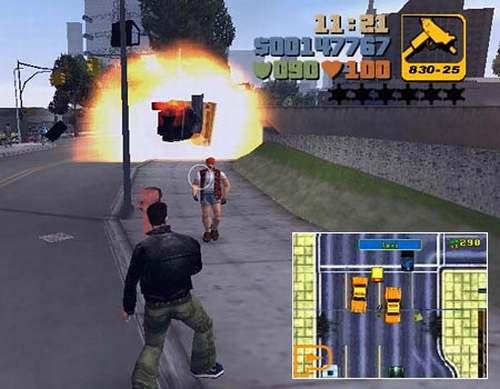 en el video juego se ve un hombre que avanza hacia otro disparando