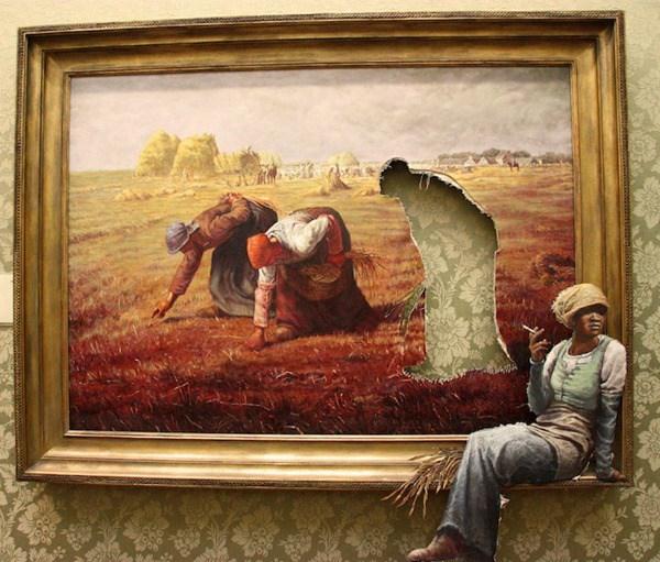 Un cuadro donde se muestra la sombra de alguien que esta observando, y el cuerpo de esa sombra esta sentado afuera del cuadro