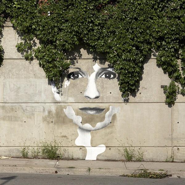 Una cara en la cual el pelo son ramas verdes que caen por el muro