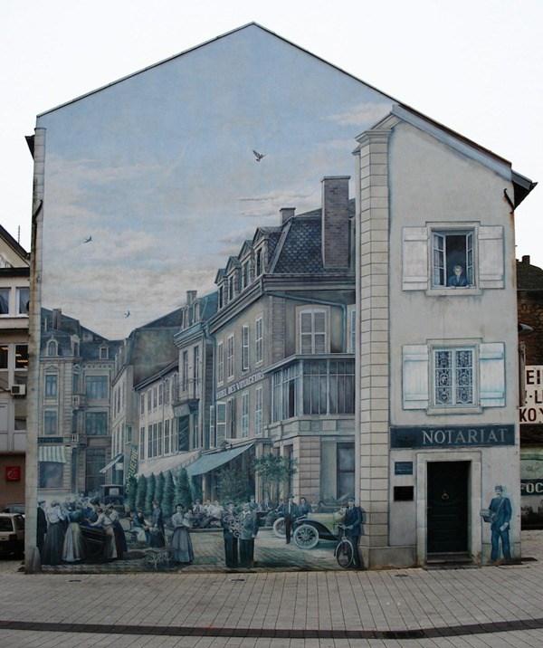 Un pueblo al estilo de 19000 pintado en una pared