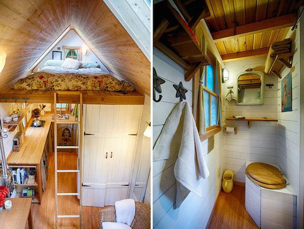 Una minicasa con su dormitorio en el pico  un baño y su cocina