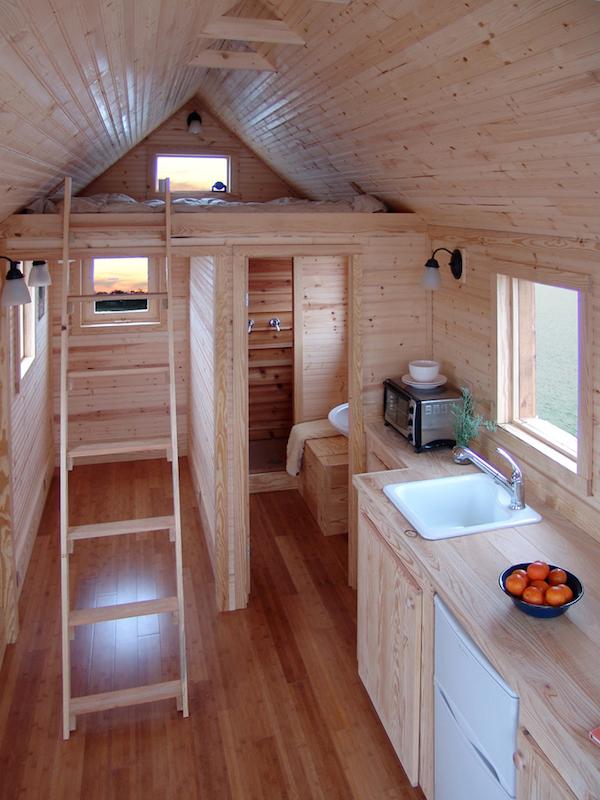 Un dormitorio en el pico de la casa en la parte de abajo su cocina y baño