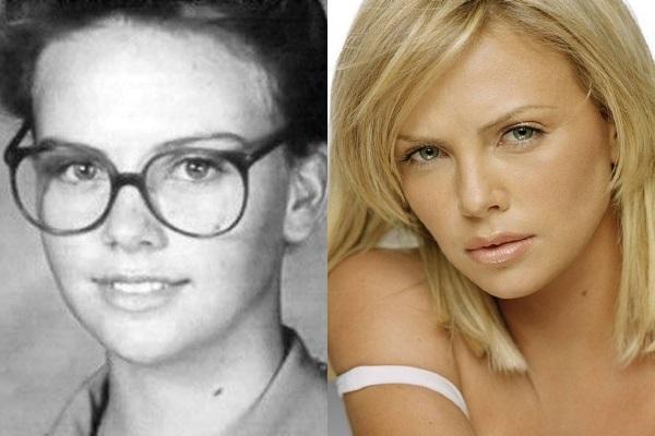 Tenemos aqui la imagen de una mujer muy joven con lentes y pelo corto y al lado una mujer muy sensual y hermosa que es la misma de la foto anterior