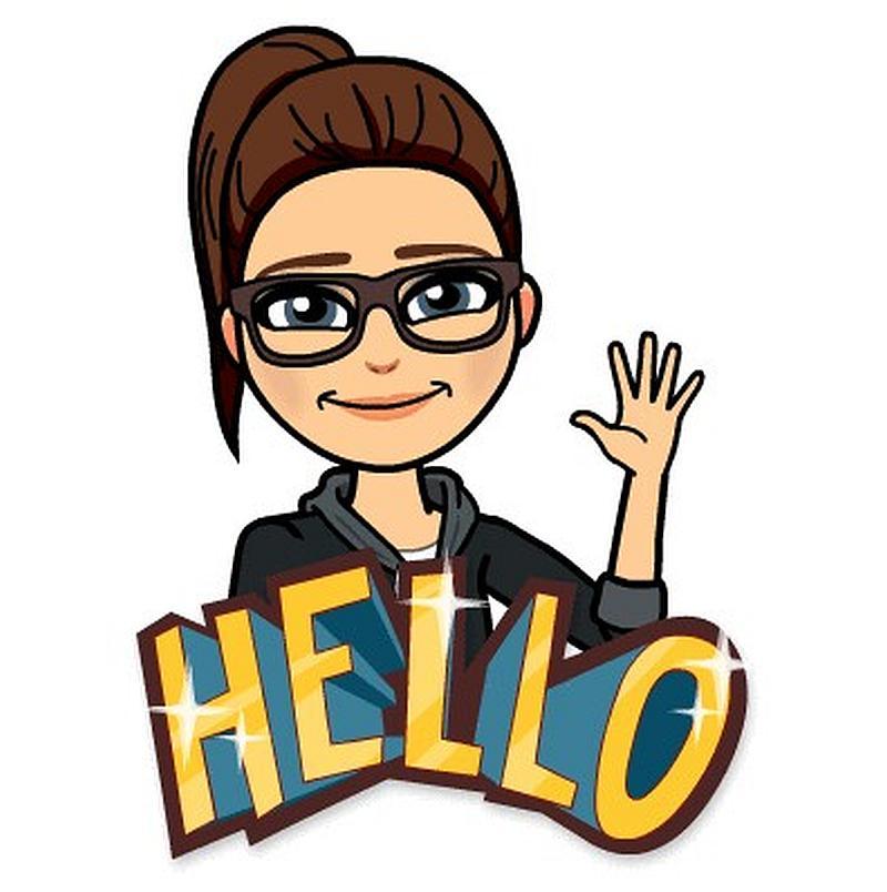 Vemos una figura de unamujer con gafas y peinado de cola que sonrie  y saluda con su mano levantada  hello