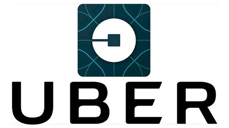 Vemos un fondo claro y un cuadro con un circulo en la mitad y un cuadrado en el centro y la palbra uber debajo en letras azules oscuras