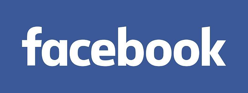 Vemos un fondo azul y en el la palabra Facebook