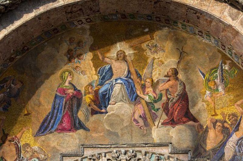 Pintura de jesús y personas cercanas