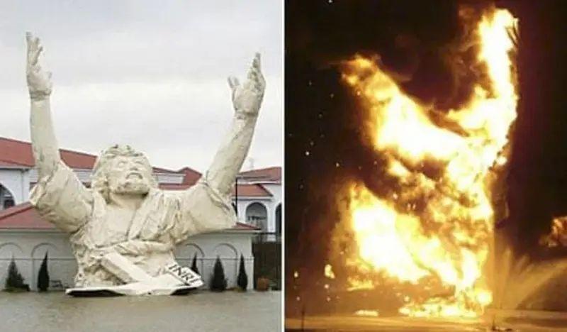 Escultura de Jesús alzando los brazos