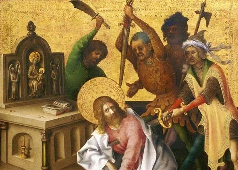 Hombres alrededor de uno arrodillado mientras le intentan apuñalar con un cuchillo y dos espada