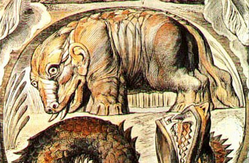 Animal gigante con colmillos,orejas de humano y grandes patas