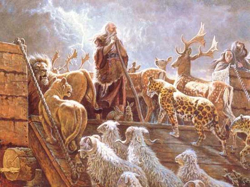 Noé subiendo dando paso para que los animales suban a la barca