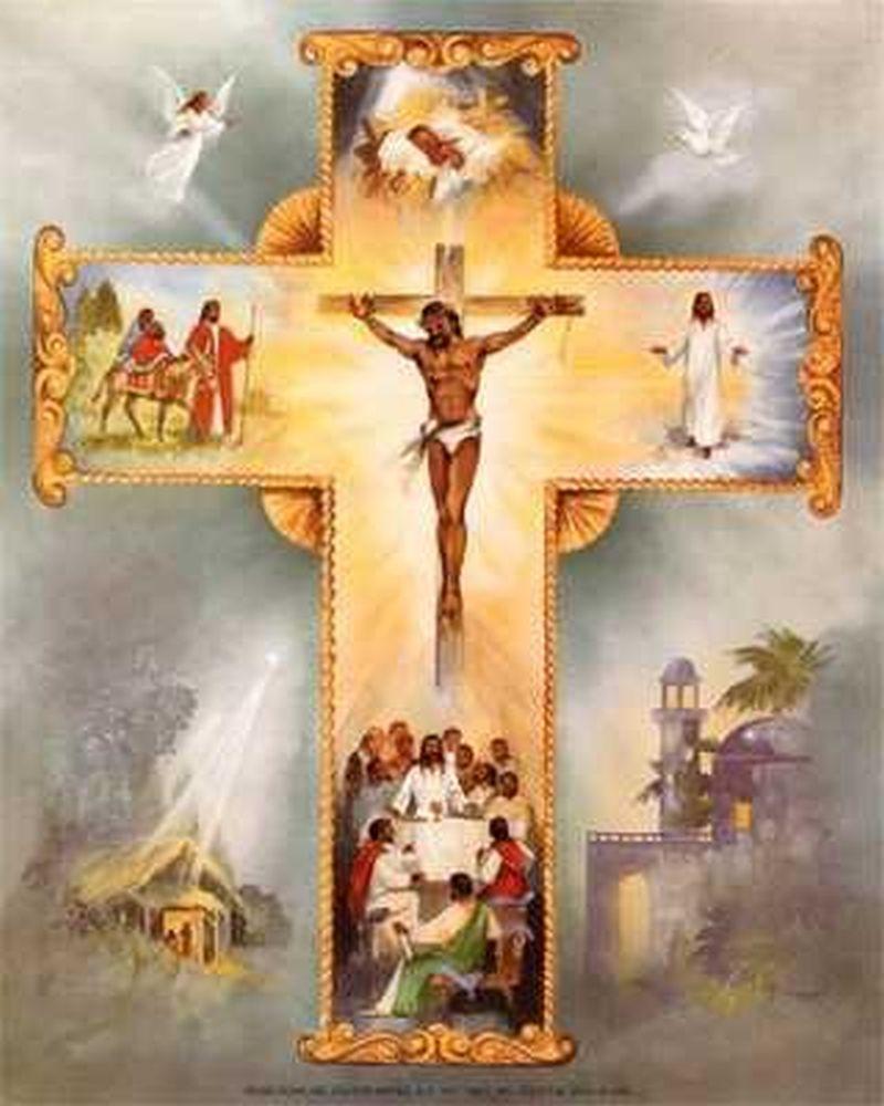 Cruz que muestra la trinidad y en medio Jesús