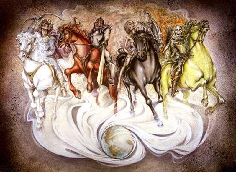 Cuatro caballos montados por hombres