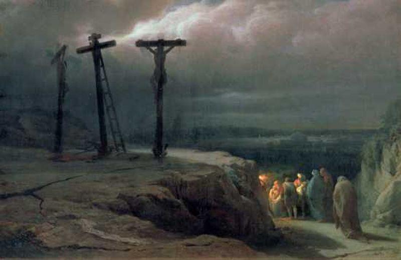 Grupo de personas que se van del lugar de la crucifixion