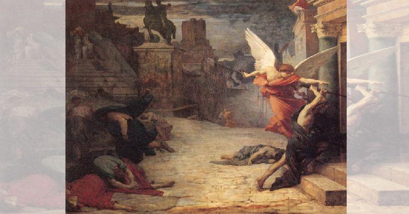Un hombre y aparente angel entrando a un lugar y a su lado cuerpos acumulados