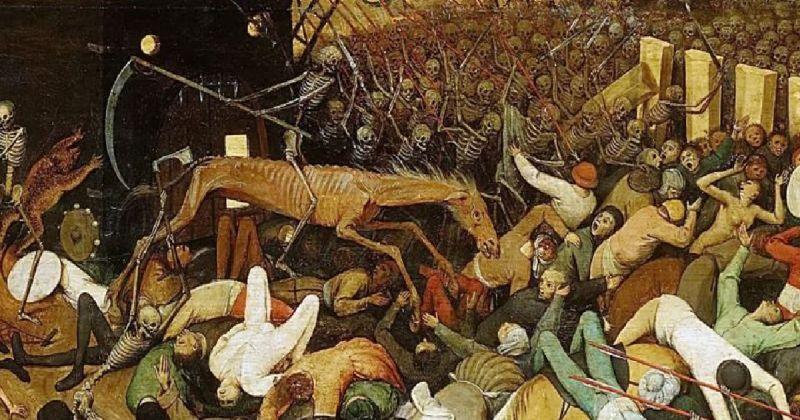 Esqueletos con una hoz y uno montado en un caballo amenazando personas