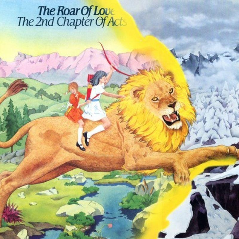 Dos mujeres montadas en un león una de ellas lleva en su mano un arco atraviesan un rió de un salto