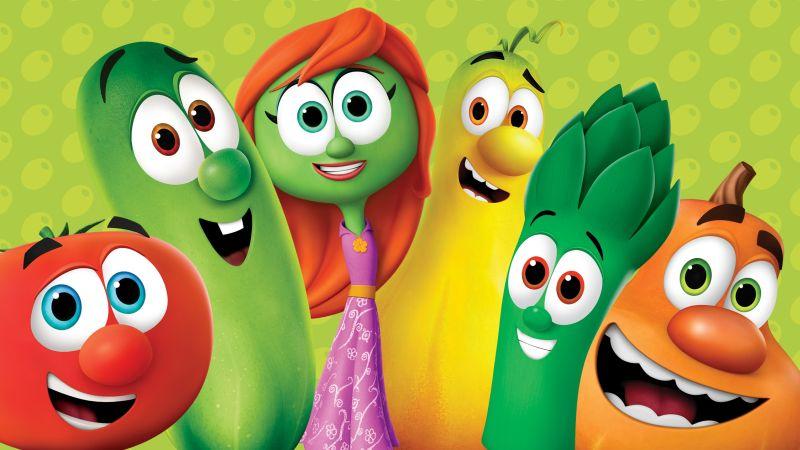 Frutas y verduras animadas en colores muy fuertes