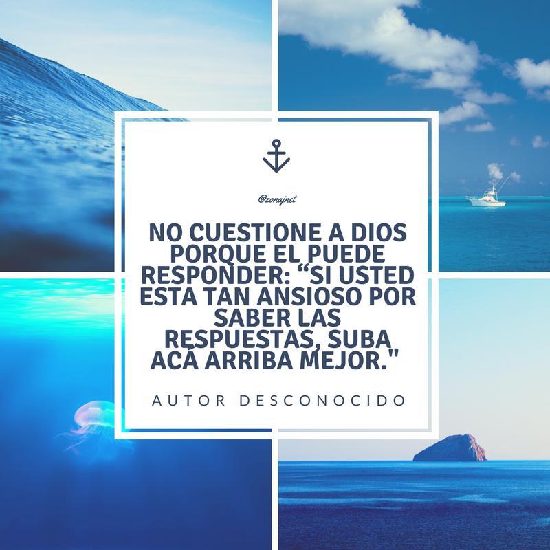 Vemos al mar en cuatro formas diferentes con oleaje fuerte otro donde veler o navega tranquilo y otras dos  también mar en calma y un recuadro en blanco  con un mensaje  en letras de color azul oscuro