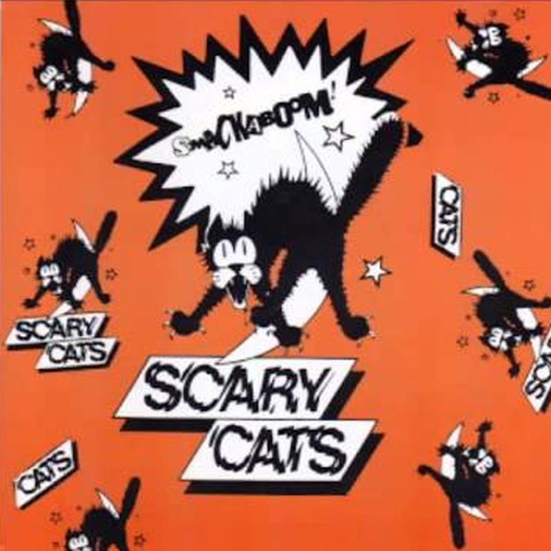 La caricatura de un gato el cual está asustado por algo que le está sucediendo