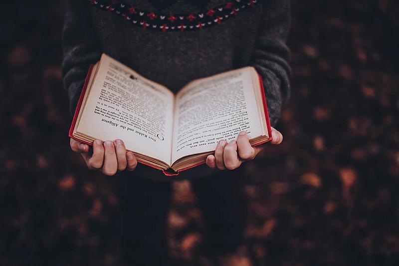 Vemos una persona que  tiene un libro abierto entre sus manos