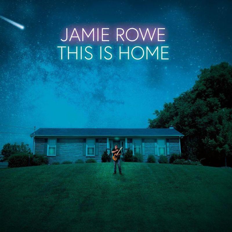 Una casa de campo y un hombre con una guitarra y árboles y se lee esto es hogar