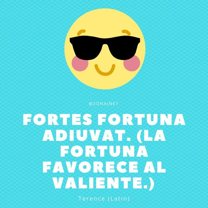 Un dibujo del sol sonriente mientras usa gafas negras y habla sobre la fortuna que favorece al valiente