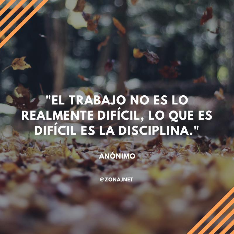 Vemos unas hojas que caen y un mensaje  donde se dice del trabajo no es dificil si no la disciplina