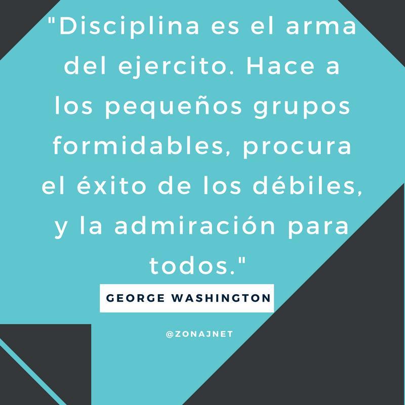 Vemos un mensaje en fondo azul y con letras blancas  que nos habla del arma del ejercito es la disciplina