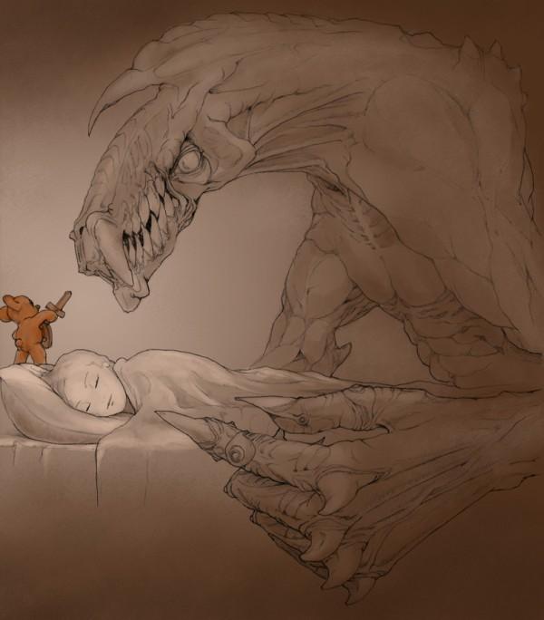 Un ser mitológico que ve a una mujer dormir y atacar y un pequeño ratoncito que la defiende