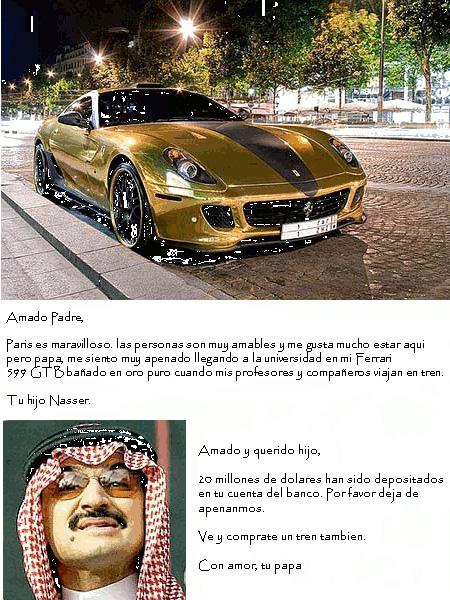 Un carro con baño en oro y un hombre árabe con su atuendo