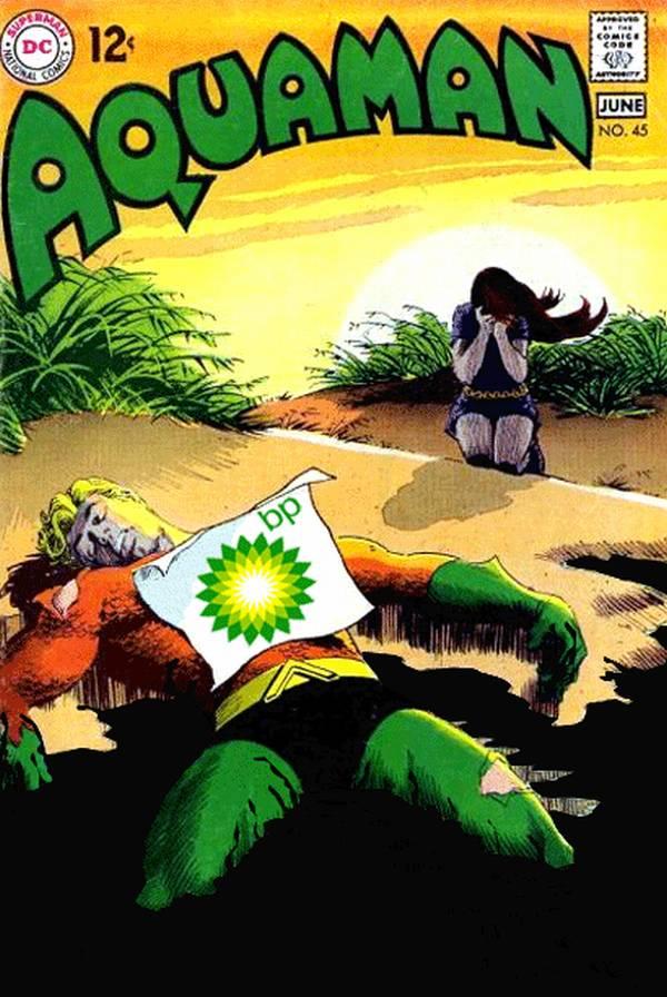 Un superhéroe tirado en un charco de petróleo y una mujer que llora a su lado
