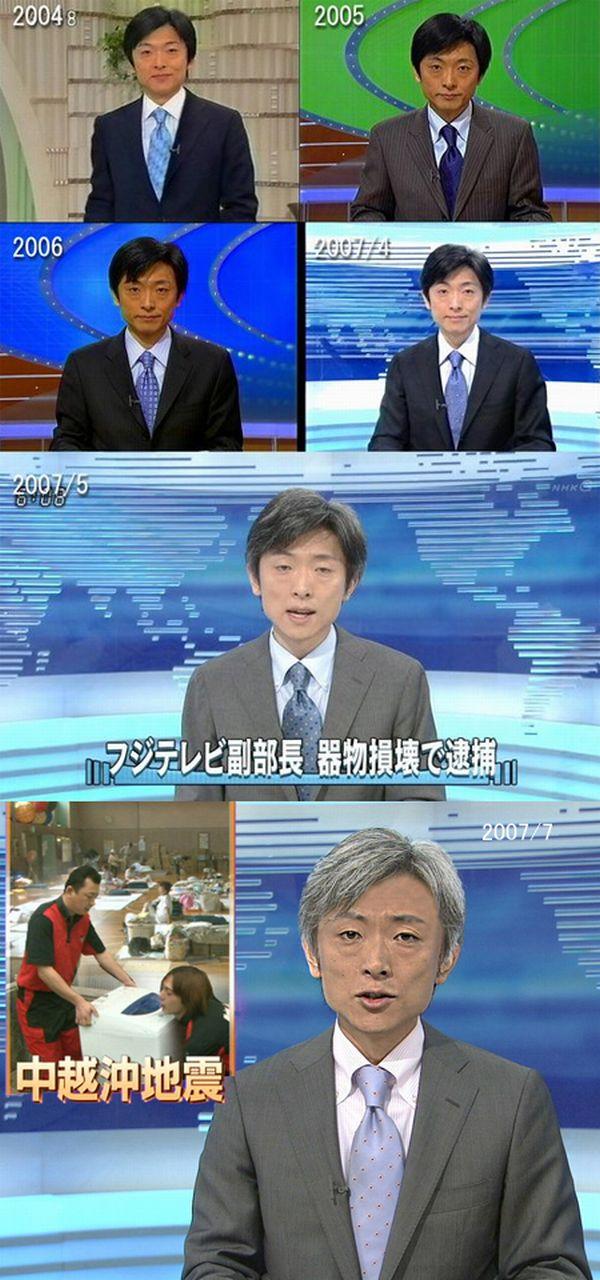 Un hombre presentador japones le haces una secuencia de fotos de diferentes años tratando de mostrar su rápido envejecimiento